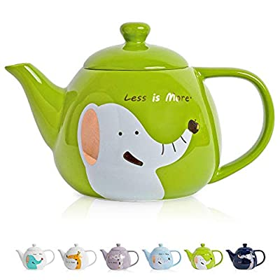 ThaiGEX Teapot, Porcelain Tea Pot with Stainless Steel Infuser, Blooming and Loose Leaf Ceramic Teapot (30 OZ / 900 ML), Green Elephant