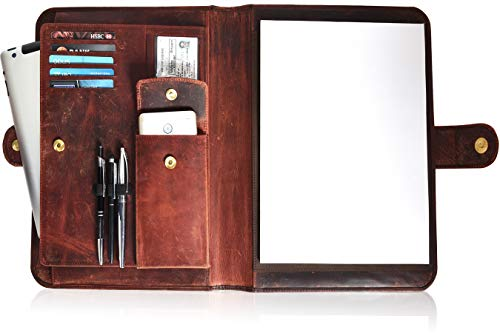 Leather Portfolio for Men and Women - Multi Pocket Padfolio Folder (Brown Crazy Horse)