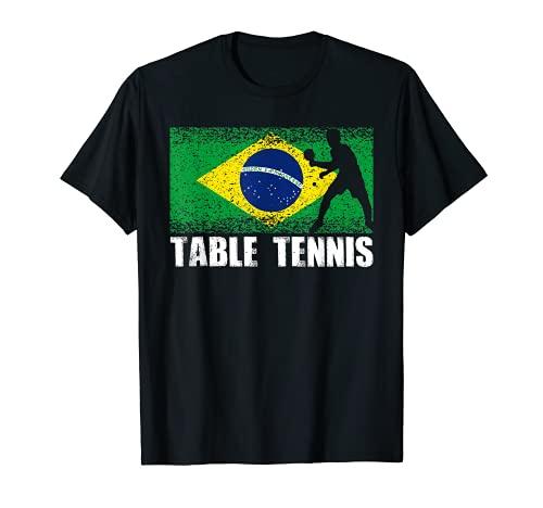 Deporte de Tenis de Mesa, Bandera Retro de Brasil, Ping Pong Camiseta