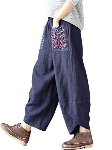 [Minesam] レディース パンツ ロングパンツ ガウチョパンツ リネン サルエルパンツ 綿麻 ゆったり 着痩せ ワイドパンツ カジュアル