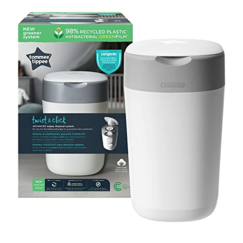 Tommee Tippee Twist and Click Advanced Nappy Bin, Includes 1x Refill Cassette, Locks in Odours and Germs, White