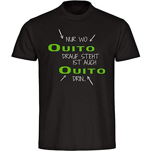 """Camiseta con texto en alemán """"Nur wo Quito Drauf Steht ist auch Quito drin"""", color negro, para niños, talla 128 hasta 176. Negro 128 cm"""
