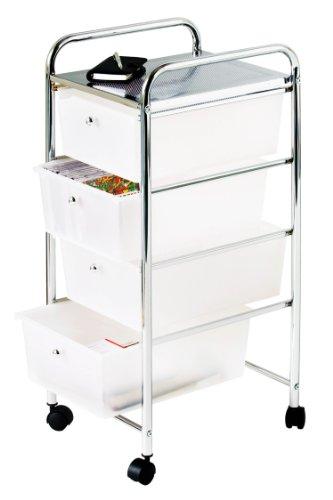 Premier Housewares - Carrito de baño, 4 cajones de plástico, 79 x 39 x 33cm, Color Blanco y Plateado