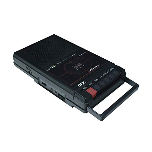 QFX RETRO-39 Shoebox Tape Recorder with USB Player, Black