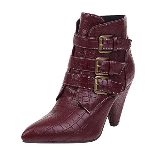 Yowablo Damen Hohe Stiefel Frauen Mode Reine Farbe Spitzzehen Reißverschluss Stiefel Square Heels Vintage (38,rot)