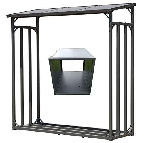 GRASEKAMP Qualität seit 1972 Kaminholz Lager 130 x 60 x 150 cm und Box für Anmachholz mit Doppelstegplatten Regal Stapelhilfe Aussen