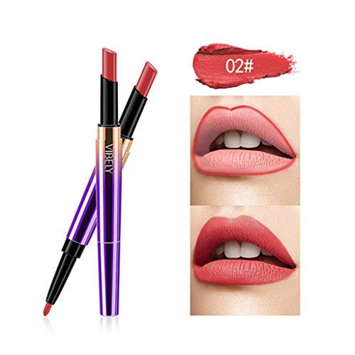 Kolylong Rouge à lèvres Double tête Femme Crayon à lèvres Cosmétique maquillage des lèvres Lining Durable Imperméable lipstick Lipliner Longue Durée Soins à Lèvres cosmétique beauté (B)