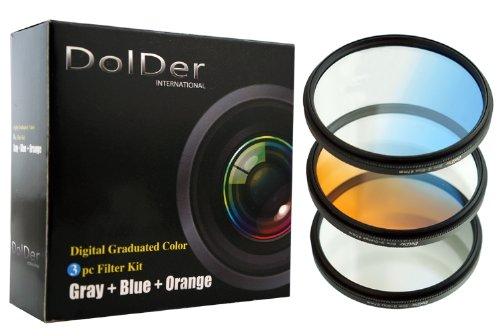 DolDer 3er Verlaufsfilter Set Grau, Orange, Blau für Digitalkameras - Filterdurchmesser 62mm - mit Filtertasche