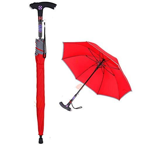 ENDJYO Paraguas Ajustable para bastón de Senderismo, bastón de luz LED, Paraguas con Alarma Inteligente, Radio de Correo electrónico para Personas Mayores
