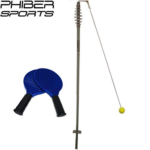 PHIBER-SPORTS Premium Swingball Set mit 2 ergonomischen Schlägern – Langlebigkeit und maximaler Spielspaß Dank verstärkter Schnurr und Tennisball – Twistball Ballspiel für Kinder und Erwachsene