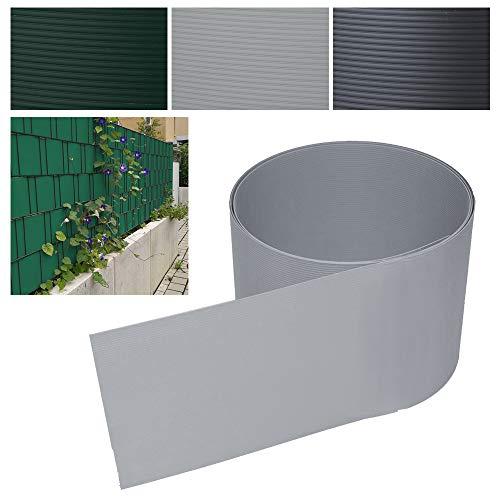 40 Stück Sichtschutzstreifen- Grau Hartes PVC Höhe 19 cm x Breite 252 cm Einstab und Doppelstabmatten UV-Resistent Für Garten Balkon effektiver Sichtschutzfolie