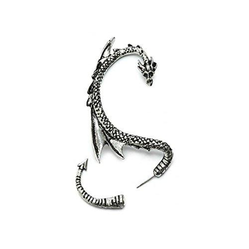 Drachen Ohrklemme Ohrstecker mit Silbertönung by Serebra Jewelry (Rechtes Ohr)