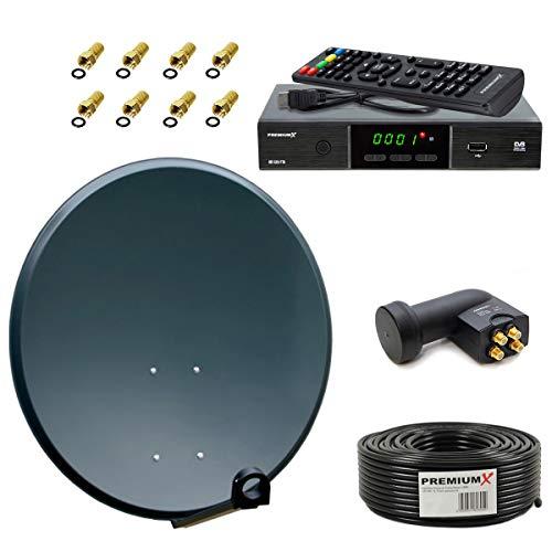 PremiumX Satelliten-Komplettanlage 60cm Satellitenantenne ALU Anthrazit SAT Quad LNB 50m Antennen-Kabel Satelliten-Receiver FullHD