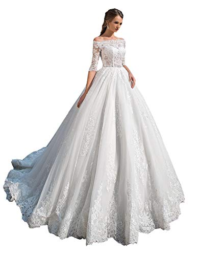 Off Shoulder Lace Wedding Dresses Ball Gown Half Sleeves A-Line Elegant Princess Classic Wedding Gowns for Bride Ivory 18 Plus