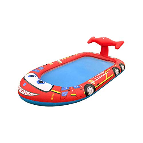 LWKBE Inflatable Splash Pad Fire Truck Sprinkler Pool Toys Summer Pool Outdoor Indoor Garden Backyard Party for Boys Girls 3+