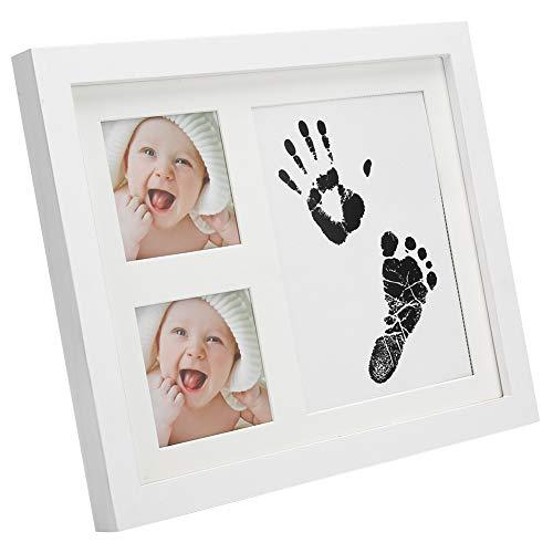 Yisentno Bilderrahmen, praktischer Kleiner hölzerner Baby-Handabdruck & Fußabdruck-Fotorahmen, für Baby-Neugeborene(White)