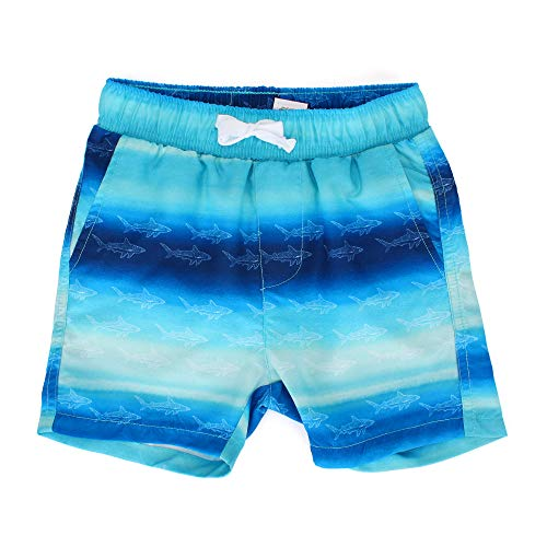 LACOFIA Kinder Badeshorts Jungen Casual Elastische Taille Badehose Kleinkind Strand Schwimmen Shorts Haifisch Blau 3 Jahre