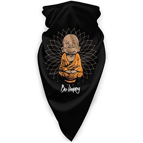 Be Happy Little Buddha Neck Gaiter Face Mask Reusable Bandanas Headwear Balaclava Scarf Black