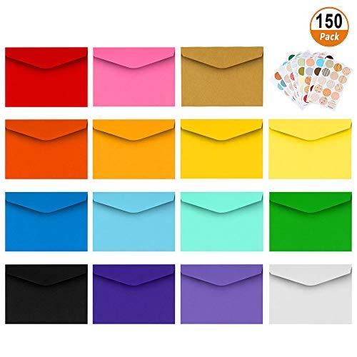 Mini Umschläge 150 Stücke Mehrfarbig Briefumschläge Kleine Umschläge mit 165 Stücke Runde Aufkleber für Weihnachten Geschenke Karten Hochzeit Geburtstag