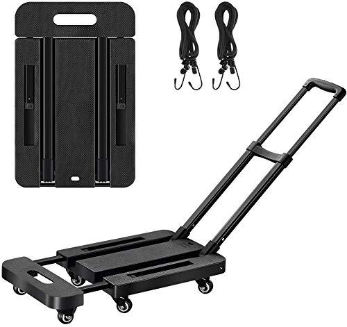 Lemonda 6 Wheels Folding Hand Truck with 2 Elastic Ropes ,400lbs Heavy Duty Luggage Cart,Utility Dolly Platform Cart for Car House Office Luggage Moving