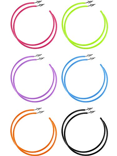 6 Pairs Women Neon Hoop Earrings Lightweight for 80's Party Retro Costume Party