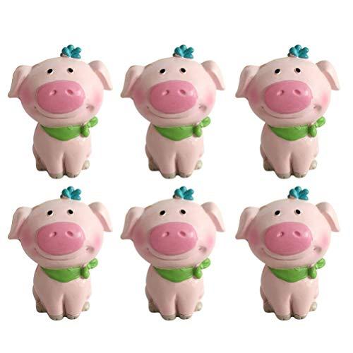 JYKFJ 6 Piezas Figuras de Animales en Miniatura Adornos de jardín de Animales de Resina Figuras de jardín de Hadas bonsái Micro Paisaje Pastel decoración de Magdalenas