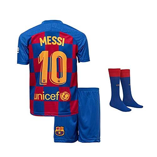Jungen Fußball Trikot Set 2 Teilig Trainings Trikot Messi Unicef Rakuten #10 Ländertrikot,Blau,176