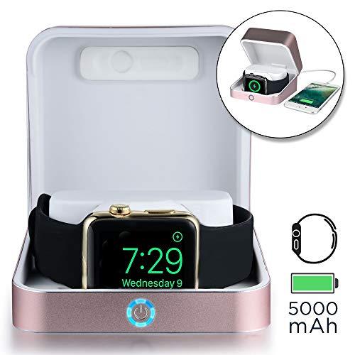 Sumato WatchBox [Caja Cargadores Batería para Apple Watch 5 4 3 2 1 | Certificación MFI, Pila de 5000mAh para Carga de iWatch y iPhone (Oro Rosa)