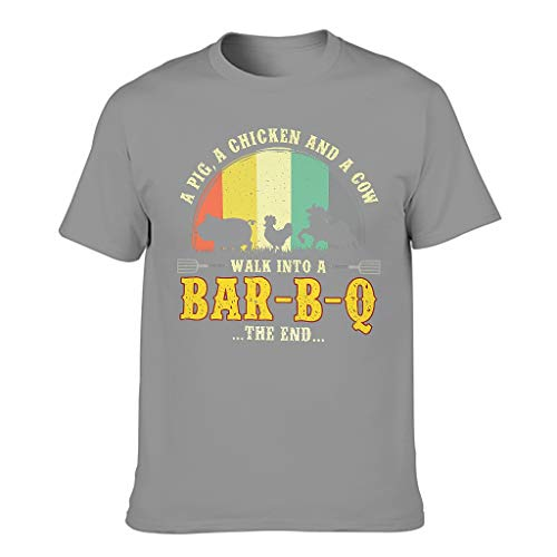 T-HGeschäft Camiseta de manga corta para hombre, diseño de cerdo, pollo y vaca que van a ir a un bar B Q Gris oscuro. L