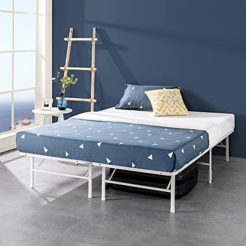 ZINUS SmartBase Tool-Free Assembly Mattress Foundation / 14 Inch Metal Platform Bed Frame / No Box Spring Needed / Sturdy Steel Frame / Underbed Storage, White, Queen