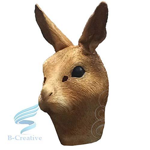 B-Creative Mscara de ltex de cabeza completa para disfraz de carnaval (mscara de conejo marrn)
