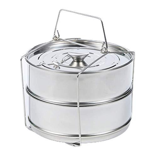 Herramientas de Cocina 304 vaporizador Multifuncional de Doble Capa de Acero Inoxidable, Canasta de múltiples Capas, Olla a presión, Cubierta actualizada e Intercambiable (Color : A)