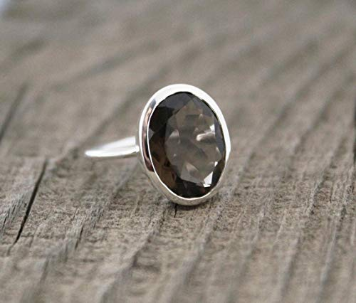 Gift For Wife Engagement Ring June Birthstone Ring Natural Smoky Quartz Ring 925 Solid Silver Ring Quartz Jewelry Women Designer Ring
