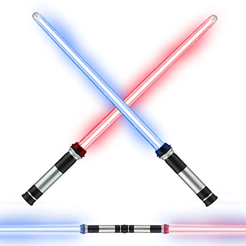 TOY Life Full Length Light Up Saber Laser Sword | 2 Pack - Not Collapsible | 2-in-1 LED + Sound FX Light Up Sword for Kids Costumes | Connects at Base to Become Double Bladed Light Up Saber Staff