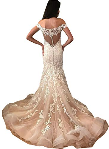 Meganbridal Women's Lace Off Shoulder Cap Sleeves Bridal Ball Gown Mermaid Wedding Dresses with Train for Bride White