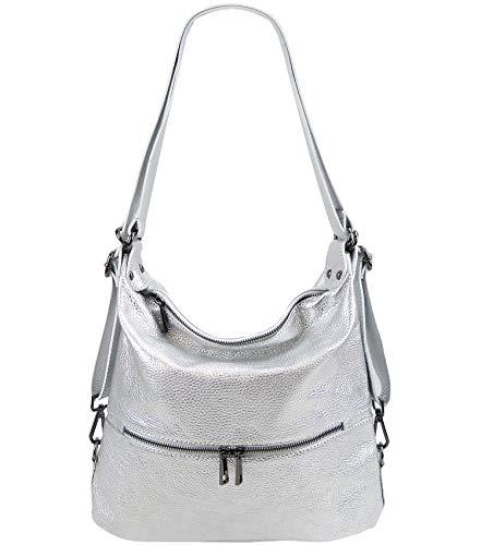 Freyday 2in1 Rucksackhandtasche Designer Damen Handtasche Henkeltasche 100% Echtleder (Silber Metallic)