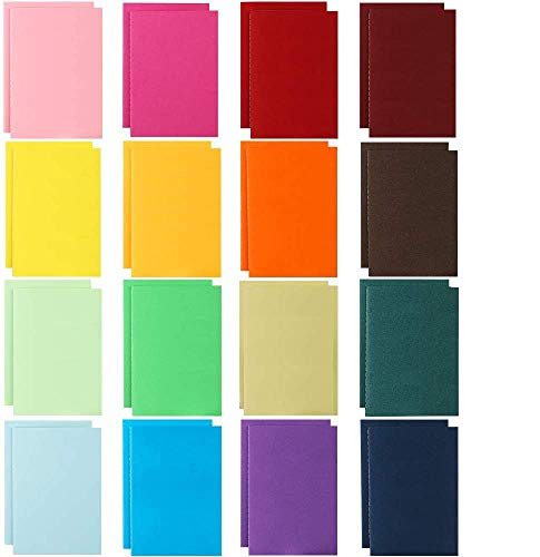 "JPSOR 32pcs Small Blank Notebooks, Memo Notepad, Soft Cover, 48 pages, 4""x5.7"", 16 Assorted Colors, for Kids, Traveler, Students, Office, School Supplies"