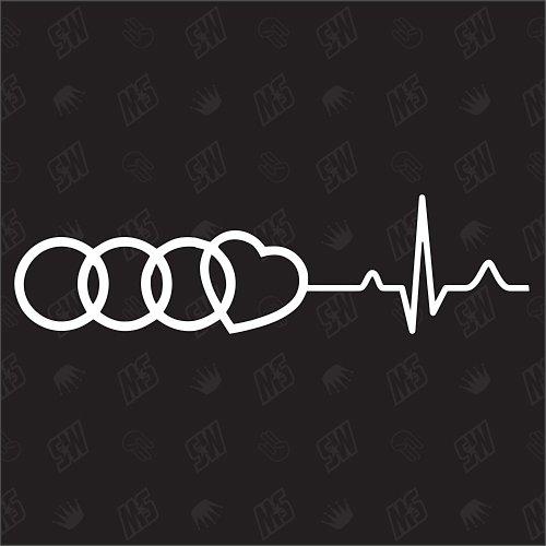 Herzschlag - Sticker, Kompatibel mit Audi, Tuning Fan Aufkleber, Ringe mit Herz