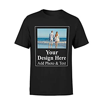AROKAN Customize Shirts for Men Custom T Shirts Design Your Own Crew Neck Mens Personalized Tshirts Black