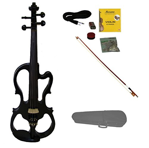 Merano MVE10BK 4/4 Full Size Fitted Electric Silent Violin with Case and Bow, Black/Ebony