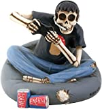 Aint It Nice Skull Gamer On Bean Bag Decor for Gamers Collectible Unique Gift Statue Figurine, 4 X 3.75 X 3.5 inches