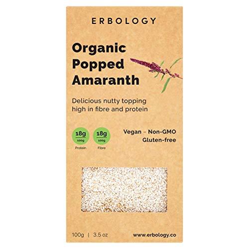 Organic Puffed Amaranth 3.5 oz - Rich in Protein, Fiber and Minerals - Gluten-free - Non-GMO