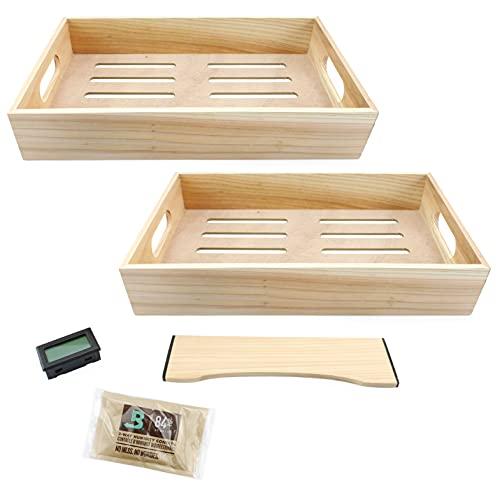 Darware Tupperdor Kit, DIY Humidor Set with Adjustable Wood Trays with Hygrometer