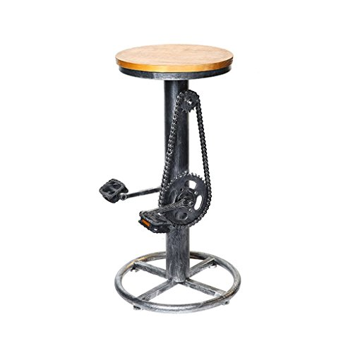 LYLSXY Sillas, Taburete de Bar de Estilo Industrial Retro, Silla de Bar de Madera de Hierro Forjado Taburete con Forma de Bicicleta Taburete de Bar de Café Creativo de Alta Moda,a,38 * 38 * 75 cm