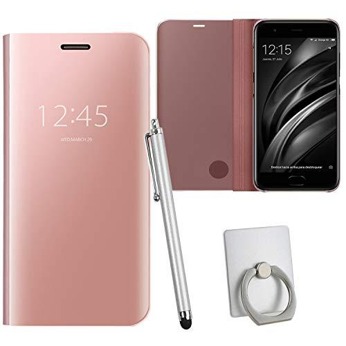Guran® Mirror Efecto Espejo Funda para Xiaomi Mi6 Clear View Función de Soporte Plegable Smartphone Funda Protectora (Oro Rosa)…