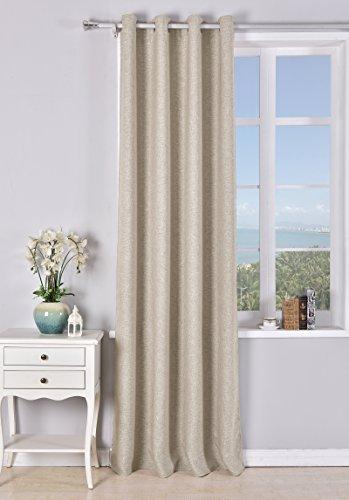 PimpamTex Cortina Opaca con 8 ollaos (1 Unidad de 140x260cm) para salón, habitación y Dormitorio. Modelo Falso Lino Blackout (Arena)