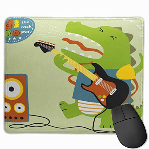 Gaming Mouse Pad with Non-Slip Rubber,Cute Mousepad,Custom Mouse Pads for Computer Laptop ,Mouse Mat Green Dino Dinosaurs The Best Guitar Player Rocker Cartoon Rock Action