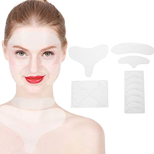 Pegatina antiarrugas de silicona de 17 piezas, cara reutilizable frente cuello pecho mentón parches para arrugas tiras para arrugas eliminación de arrugas cinta facial tratamiento antiarrugas