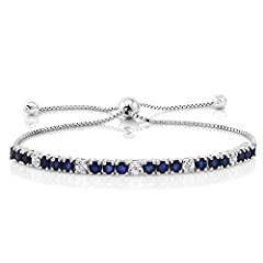 PERFECT - Showcase your sophistication with our Natural Blue Sapphire and White Natural Diamonds 925 Sterling Silver Adjustable bracelet. this bracelet is a modern take on classic style making it perfect for all occasions and gift giving. MADE OF REA...