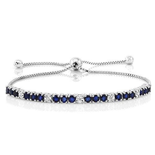Blue Sapphire and White Diamond Bracelet by Gem Stone King